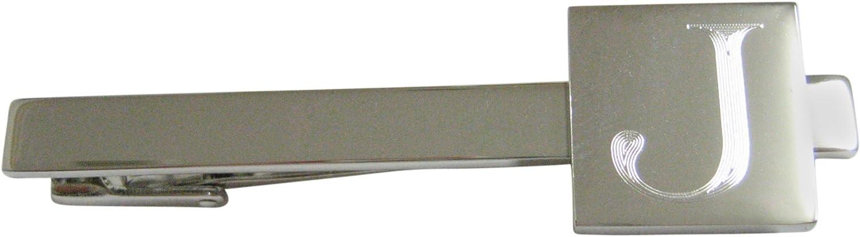 Letter J Etched Monogram Square Tie Clip