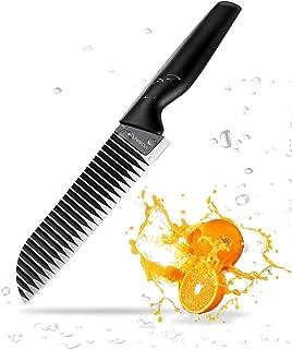 Kitchen Chef's Knives,VOSIN Wavy Edge Bread Knife, Stainless Steel Blade Bread Steak Cutting Knife for Kitchen Black
