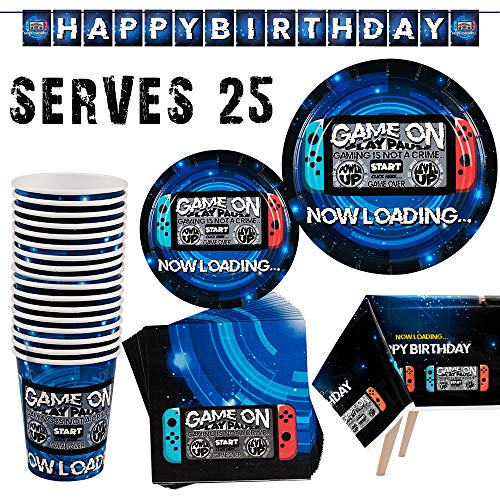 Video Game Party Supplies Birthday Party Supplies for Gamer Includes Video Game Paper Plates, Paper Cups, Napkins, Table Cover and Decoration Banner, Serves 25 Guests, 102PCS