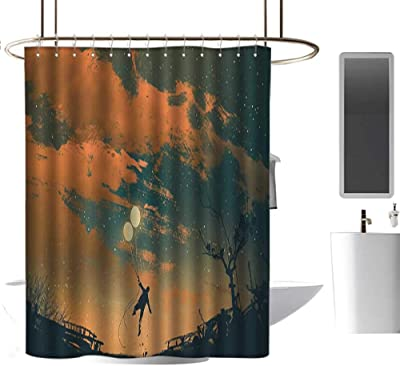 Kess InHouse Suzanne Carter Sky at Night Red White 69 x 70 Shower Curtain