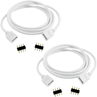 TronicsPros 2pcs 5m 16.4ft RGB Extension Cable Cord 4 Pin Flex LED Tape LED Ribbon LED Rope Light Connector Wire for RGB 5...