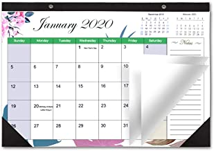 Desk Calendar 2020 Monthly Large Wall Calendar Planner with Plastic Cover, 17
