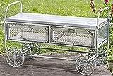 Unbekannt mesa carrito mesa bar de jardín porche terraza con ruedas de hierro y madera l100cm en gris rustico