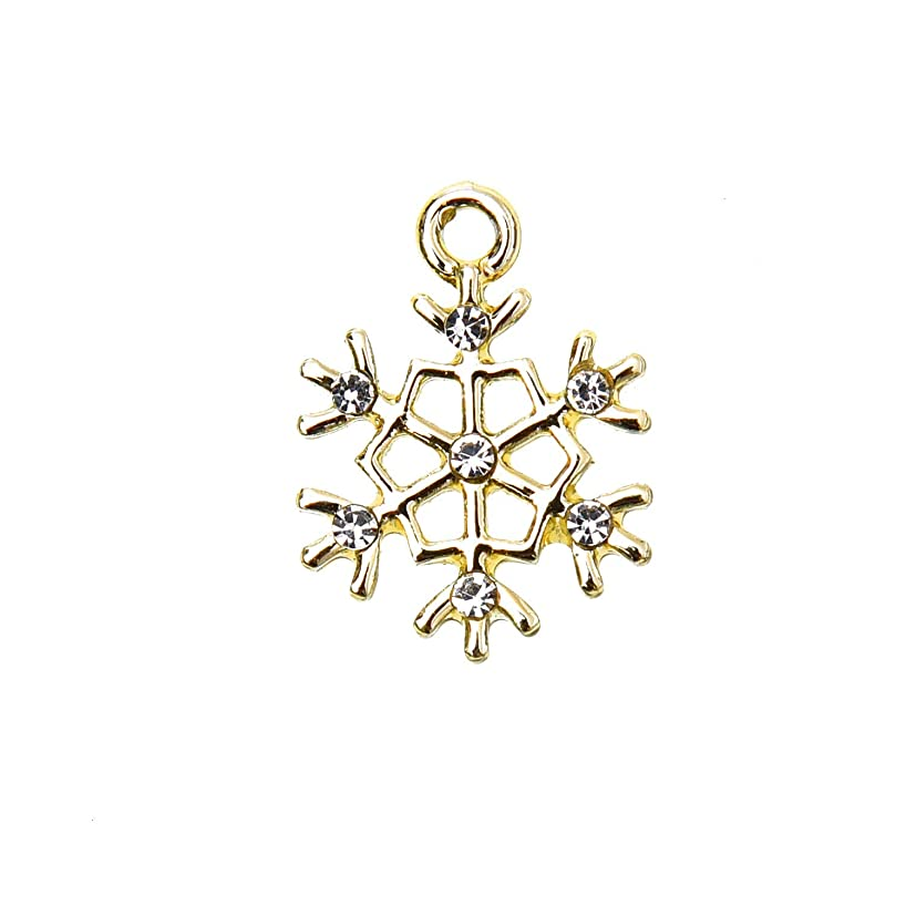 Monrocco 20pcs Gold Snowflake Pendant Charm for Jewelry Making Bracelet Earring Craft 21x16mm