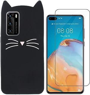 MI-KOU kompatibel med Huawei P40 5G Case + skärmskydd silikonskydd snygg kattdesign, drop full body skydd stötsäker skydd ...