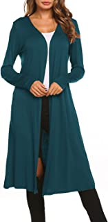 BLUETIME Women Plus Size Long Open Front Drape Maxi Cardigan Lightweight Duster Long Sleeve Cardigan Fall (S-4XL)