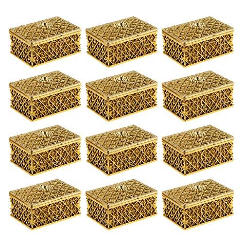 D DOLITY 12x Plastik Box Kasten Karton Schachtel für Gastgeschenk Bonbon und Schmuck mit Netzform - Gold