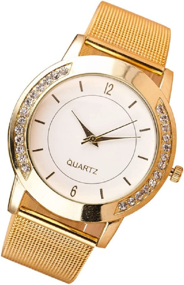 FUNIC Women's Watch Free shipping Ranking TOP18 on posting reviews Crystal Golden Stainless Steel Quart Analog