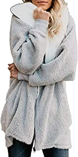 Xinantime Womens Solid Oversized Zip Down Hooded Fluffy Coat Cardigans Outwear with Pocket
