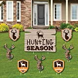 Gone Hunting - Yard Sign and Outdoor Lawn Decorations - Deer Hunting Camo Baby Shower or Birthday Party Yard Signs - Set of 8