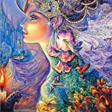 ZAWAGU Pintura diamante bricolaje 5D punto de cruz set de regalo bordado flor hada rhinestone personaje costura decoración del hogar diamante redondo