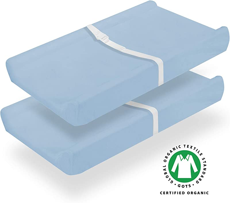 Organic Changing Pad Covers Change Table Cover Sheets Waterproof 100 Organic Cotton 2 Pack Light Blue
