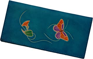 Real Leather Check Book Cover, a Butterfly and Flower Patterns Embossed on Both Side with Different Color(s). (Blue)