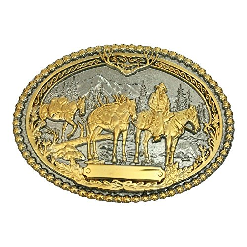 Montana Silversmiths Pack Horses and Rider Two Tone Attitude Belt Buckle - 61333P