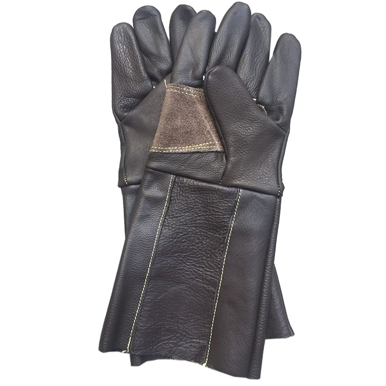 Thorn Proof Gloves for Men and Women Cowhide Leather Gardening Gloves with Long Gauntlet to Protect Your Arms Until the Elbow Coffee YLST05