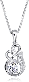 Rhodium Plated Sterling Silver Heart&Foxtail Pendant Necklace Sweater Chain for Women