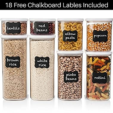 Shazo Airtight Container Set for Food Storage - 8 Piece Set + FREE 18 Chalkboard Labels - Strong Heavy Duty Plastic - BPA Free - Modular Design Storage - Clear Plastic w/Visual Window Easy Lock Lids