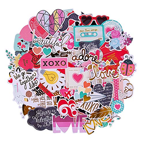 FaCraft Scrapbooking Supplies Ephemera Die Cuts Stickers (95 pcs Love)