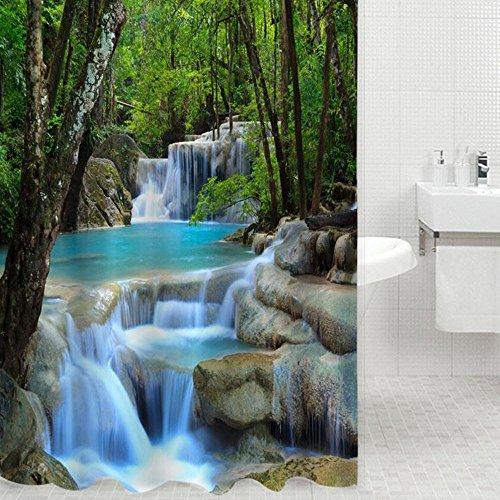 Fashionbeautybuy Rideau de douche résistant à l'eau 1,8 x 2 m Paysage naturel Cascades 3D Avec 12 crochets