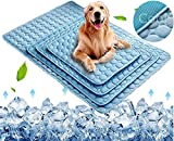 Dog Cooling Mat, Pet Cooling Pads for Dogs Cats Washable Summer Kennel Mat, Breathable Self Cooling Blanket Pad Ice Silk Sleep Mat Non-Toxic Dog Cool Bed Liner for Home Travel Extra Large Blue