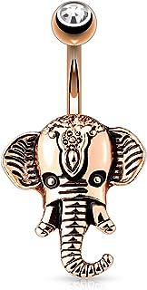 HBJ Unisexo Piercing En El Ombligo Elefante Acero Inoxidable Latón Cristal Claro 1.6mm x 10mm N15387