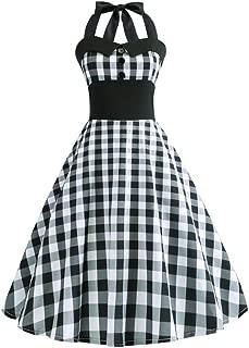 Vintage Plaid Retro Cocktail Prom Dresses 50's 60's Rockabilly Bandage Party Prom Dress