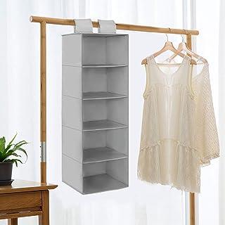 Rangement Suspendu avec 5 Compartiments, Étagère Sac de Casier Rangement Vêtements Suspendue Penderie, Wardrobe Organiser ...