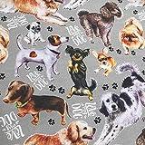 Kt KILOtela Tela por Metros de loneta Estampada Digital - Ancho 280 cm - Largo a elección de 50 en 50 cm | Razas de Perros, Love my Dog - Gris