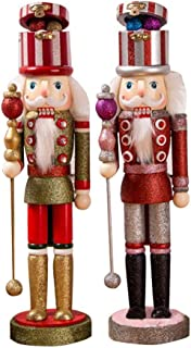 Special-U 2-Pack of Large Nutcracker Soldier, Wooden Handpainted Retro Royal Soldiers Figures Puppet Xmas Christmas Decorations for Home Desk, 38cm Height