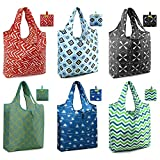 BeeGreen Reusable Grocery Bags 6 Pack with Pouch Shopping Bags Reusable X-Large Durable Washable Foldable Tote Bags Red Green Black Teal Blue Light Blue