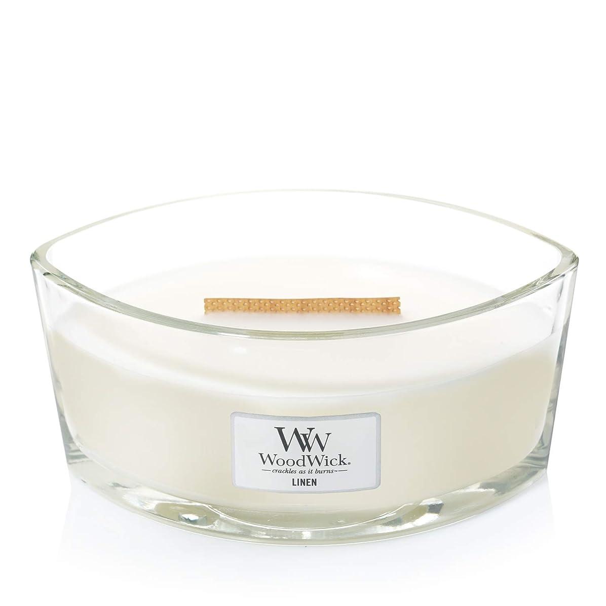 さようなら誘発するブリード(11.4cm l x 19cm w x 8.8cm h) - WoodWick 76135 Linen HearthWick Candle, White