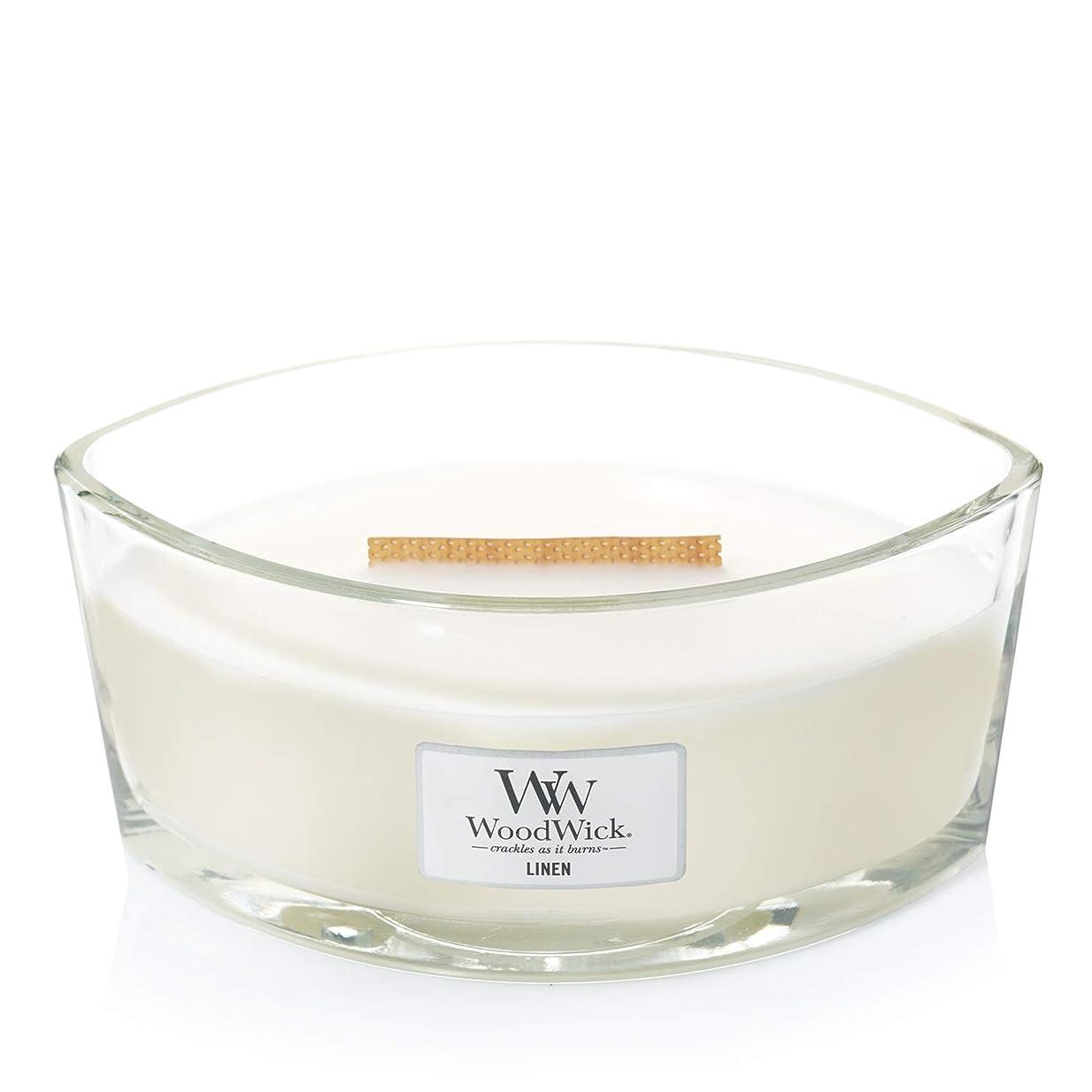 故国リール使役(11.4cm l x 19cm w x 8.8cm h) - WoodWick 76135 Linen HearthWick Candle, White