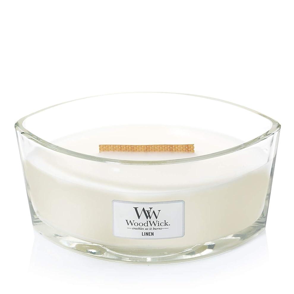 エミュレートする韓国語割れ目(11.4cm l x 19cm w x 8.8cm h) - WoodWick 76135 Linen HearthWick Candle, White