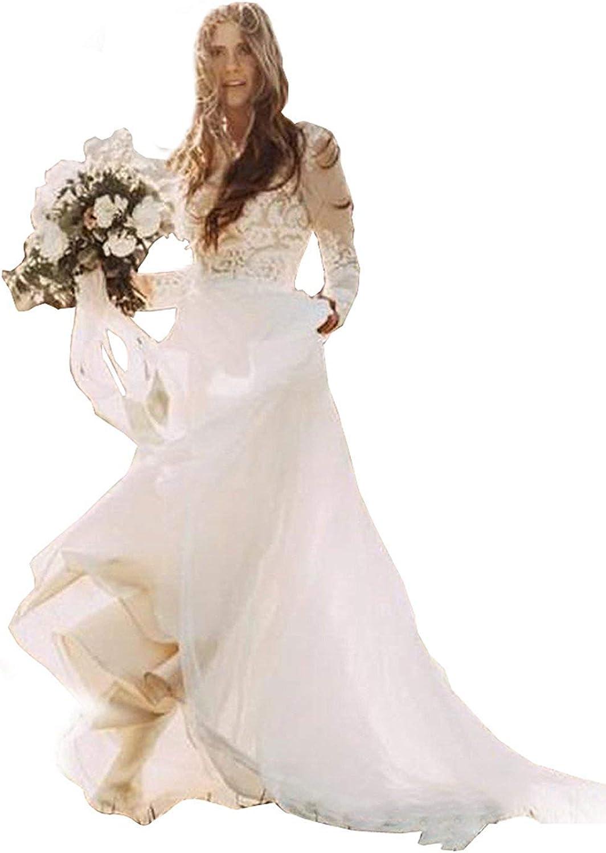 Dreagel Women's Beach Lace Wedding Dresses Long Sleeves Boho Bridal Gowns 2019