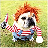 DELIFUR Dog Awful Costume Pet Halloween Clothes Cat Cosplay Party Suit Funny Dog Costume Small to Large Dogs(S)
