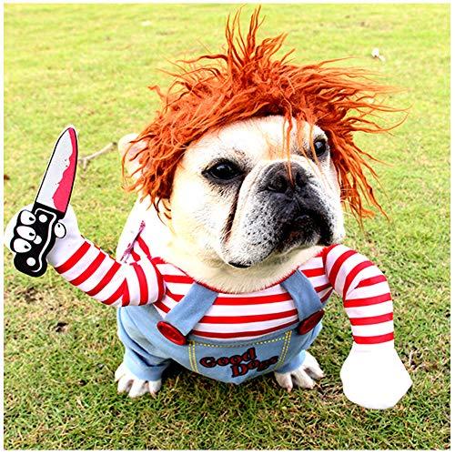 DELIFUR Perro Horrible Disfraz Mascota Ropa de Halloween Gato Cosplay Traje de Fiesta Disfraz de Perro Divertido Perros pequeños a Grandes(S)