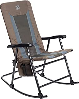 Timber Ridge Smooth Glide Lightweight Padded Folding Rocking Chair for Outdoor and Support up to 300lbs, Earth