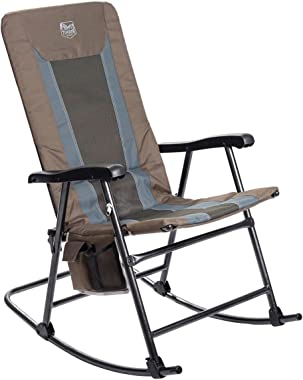 Timber Ridge Camping Rocking Chair Padded Folding Lawn Chair Heavy Duty Supports 300lbs, Portable for Outdoor, Patio, Lawn, Y