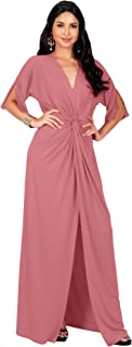Womens Long Short Sleeve V-Neck Sexy Slimming Casual Summer Maxi Dress
