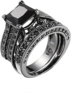 Womens Vintage Black Diamond 2-in-1 Engagement Wedding Ring Silver Rings