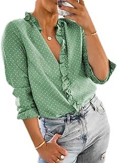 GUOCAI Women Fall Frill Tops Polka Dot Long Sleeve V-Neck Blouse Shirts