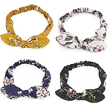 nuoshen 3 Colors Bow Headbands Retro Knotted Bow Headbands Cotton Vintage Turban Rabbit Ears Headwraps for Women and Girls