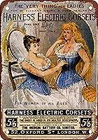 ハーネス電気コルセット壁金属ポスターレトロプラーク警告ブリキサインヴィンテージ鉄絵画装飾バーガレージカフェのための面白いハンギングクラフト