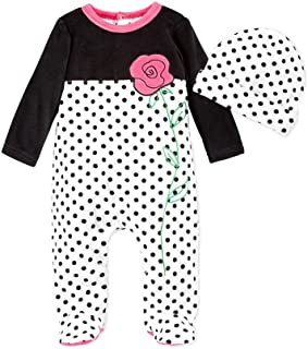 4ad61bca4 First Impressions Infant Girl 2 PC Plush Flower Jumpsuit Sleeper Hat Outfit  White