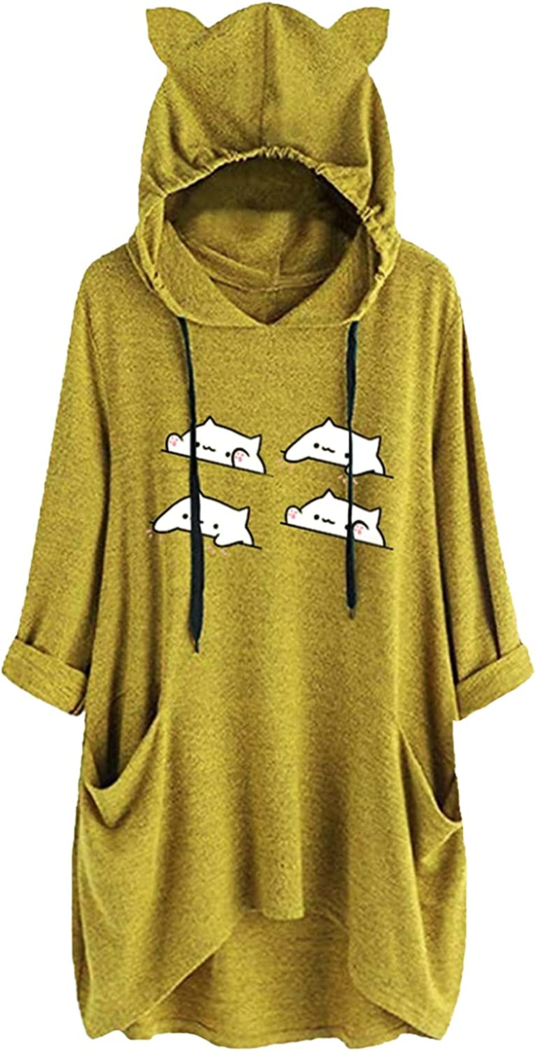 Women Cat Eat Hoodies Dress Max 88% OFF Hooded Tunic Printed Sleeve Long 40% OFF Cheap Sale