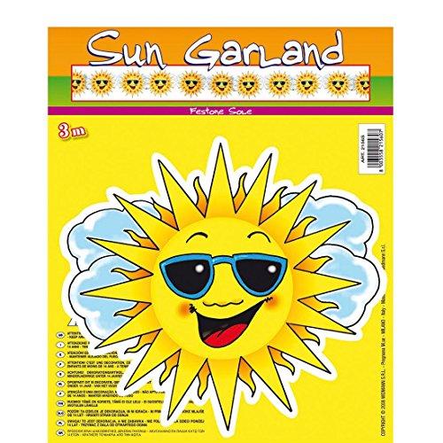 Amakando Guirlande Soleil Suspendue Sun fête été chaîne décorative 3 m Beach Party Plage Hawaii Smiley soirée à thème Accessoire