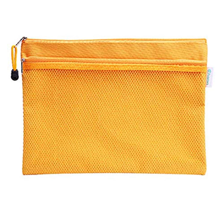 リスナーバースピジンファイルケース クリアケース カードケース ファイル袋 ペン入れファスナー式 撥水 持ち運びに便利 A4 網目 ファスナ 付き 5枚セット (オレンジ)