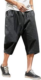 Xmiral Uomo Pantalone Corti in Felpa di Cotone Pantaloni in Cotone di Canapa in Puro Cotone di Nuovo Stile