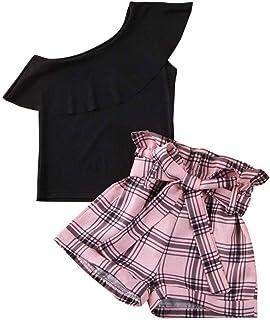 sunnymi Baby Kinder Kleidung sunnymi Bekleidungssets für Baby Mädchen,1-6 Jahre Kleinkind Kinder Baby Mädchen Fly Sleeve Floral Tops  Solid Ruffle Röcke Kleidung Set
