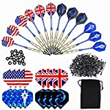 Roobeeo Soft Tip Darts for Electronic Dart Board 12 PCS 18g Plastic Tip Darts Set with Brass Steel Barrels&Aluminum Shafts,200 Extra Dart Tips,16 Dart Flights,20 Extra Rubber Rings and 1 Storage Bag